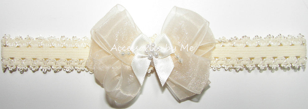 Baptism Ivory Organza Pearl Bow Lace Headband - Accessories by Me