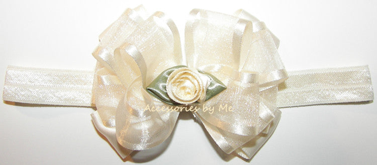 Baptism Ivory Floral Bow Headband - Accessories by Me