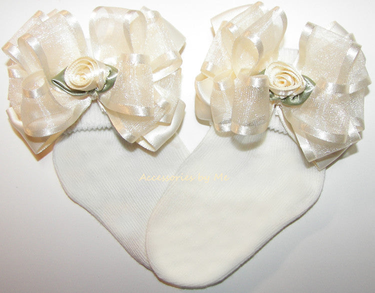 Baptism Ivory Organza Satin Floral Bow Socks - Accessories by Me