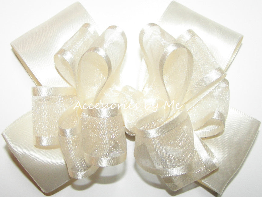 Fancy Ivory Organza Satin Hair Bow for Girls - Accessories by Me
