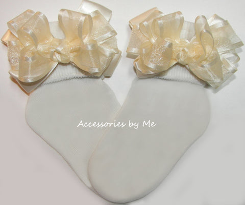 Ivory Organza Satin Trim Bow Socks