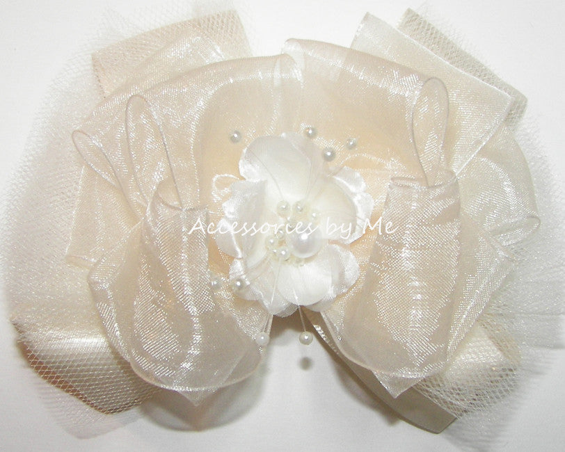 Fancy Ivory Organza Tutu Floral Pearl Hair Bow - Accessories by Me