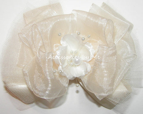 Fancy Ivory Organza Tutu Floral Pearl Hair Bow