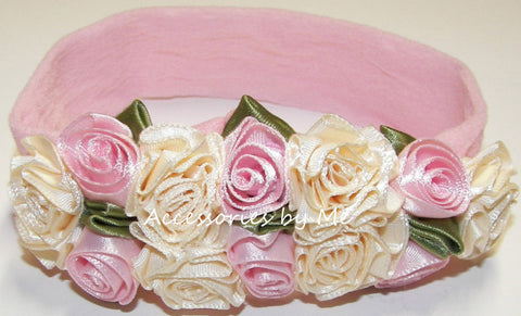 Frilly Ivory Pink Roses Floral Nylon Headband