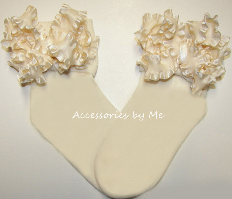 Baptism Frilly Ivory Ruffle Bow Socks - Accessories by Me