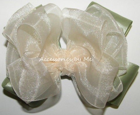 Ivory Sage Green Organza Satin Hair Bow