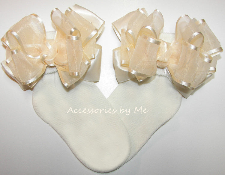 Frilly Ivory Organza Satin Bow Socks - Accessories by Me