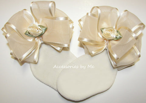 Frilly Ivory Organza Satin Floral Bow Socks