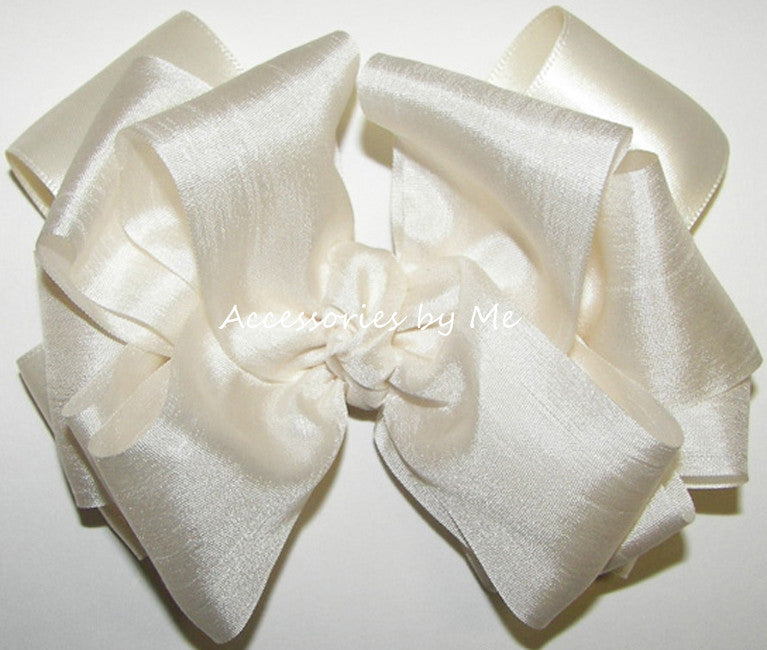 Fancy Ivory Silk Satin Ribbon Hair Bow - Accessories by Me