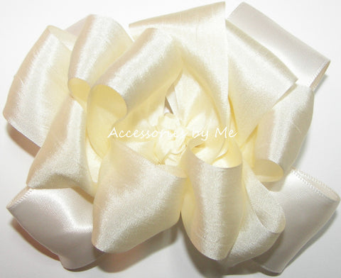 Ivory Cream Pure Silk Satin Ribbon Hair Bow
