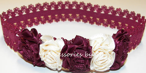 Burgundy Ivory Rose Flowers Lace Headband