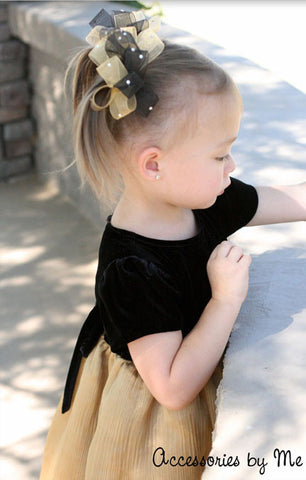 Glitzy Black Gold Organza Pigtail Hair Bows