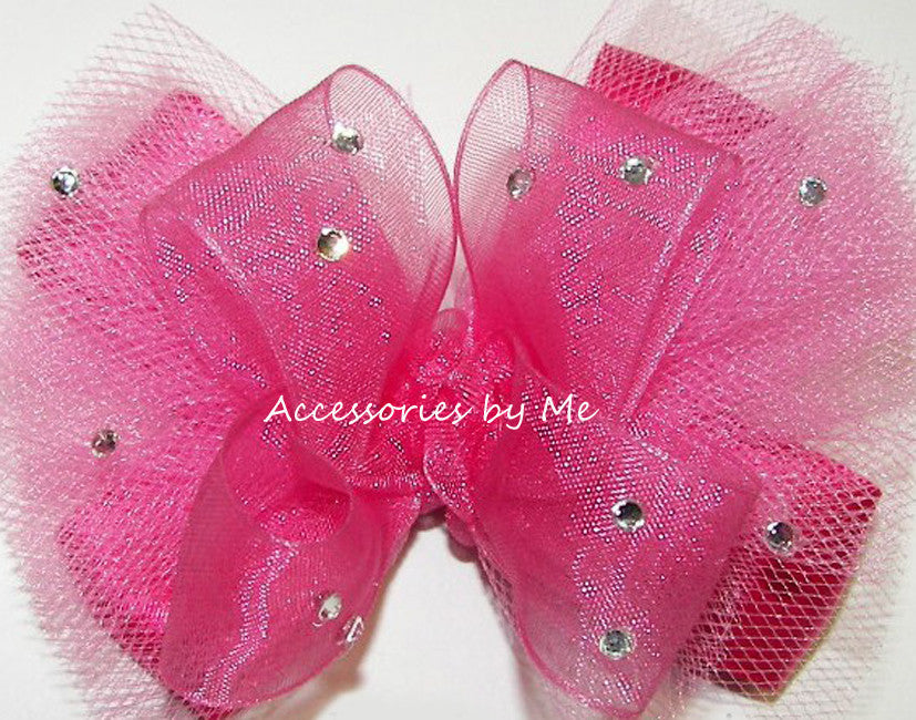 Glitzy Hot Pink Organza Tutu Hair Bow - Accessories by Me