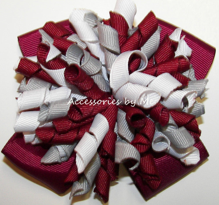 Korkers Maroon Gray White Cheer Hair Bow - Accessories by Me
