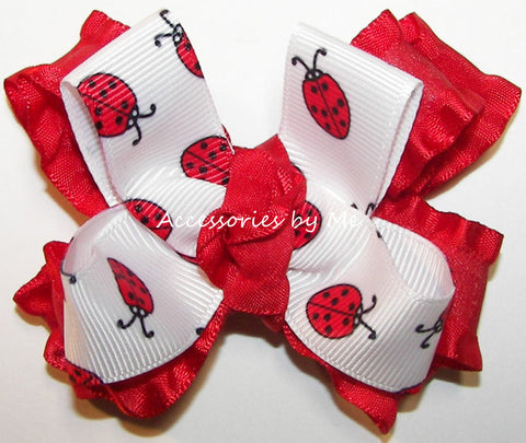 Frilly Lady Bug Red Ruffle Hair Bow