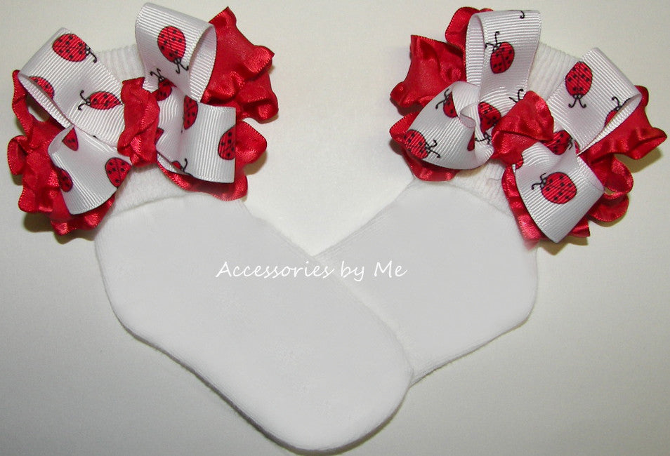 Frilly Lady Bug Red Ruffle Bow Socks - Accessories by Me