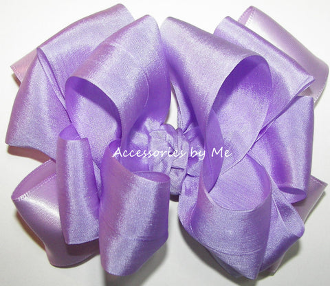 Lavender Silk Satin Ribbon Hair Bow