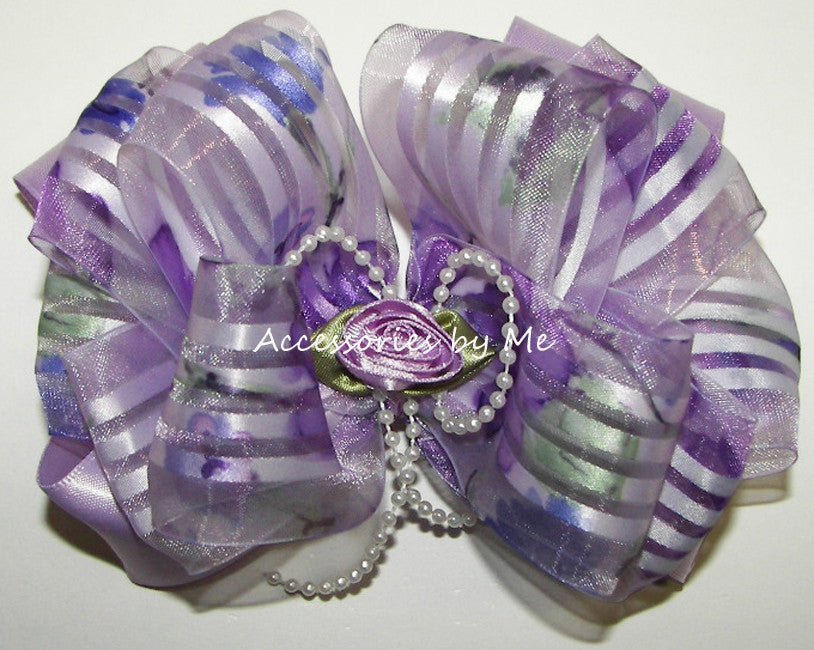 Fancy Lavender Organza Satin Floral Hair Bow - Accessories by Me