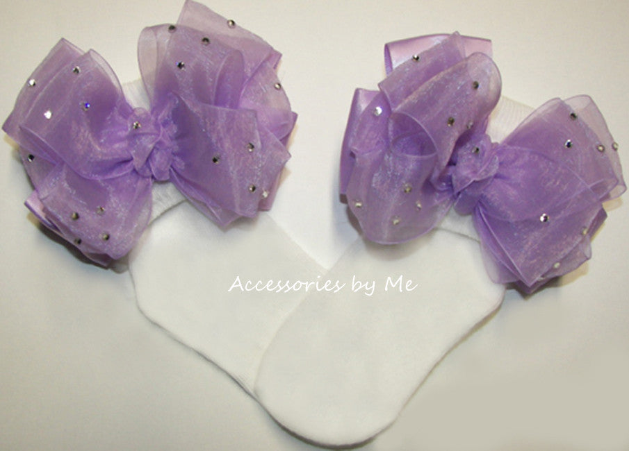 Glitzy Lavender Organza Satin Bow Socks - Accessories by Me