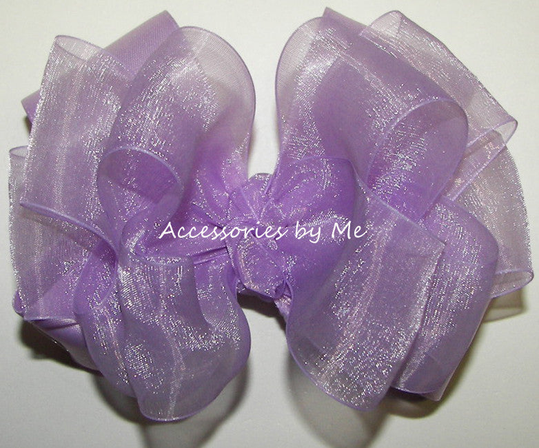 Fancy Lavender Organza Satin Hair Bow - Accessories by Me