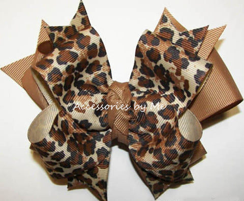Leopard Ivory Brown Funky Hair Bow