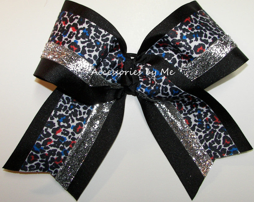 Leopard Multi Black Silver Big Cheer Bow - Accessories by Me
