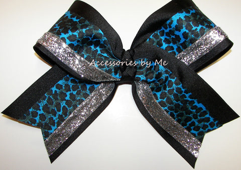 Leopard Blue Black Silver Big Cheer Bow