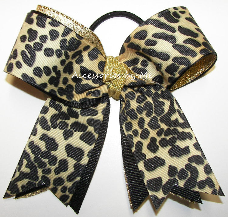 Leopard Cheetah Black Gold Ponytail Holder Bow - Accessories by Me
