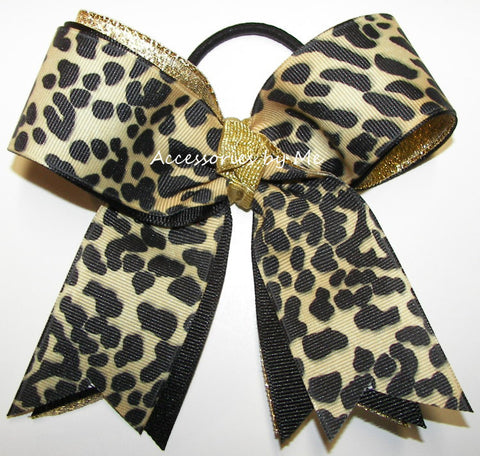 Leopard Cheetah Black Gold Ponytail Holder Bow