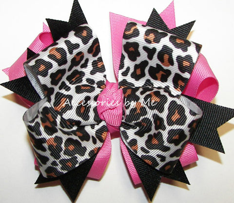 Leopard Black Hot Pink Hair Bow
