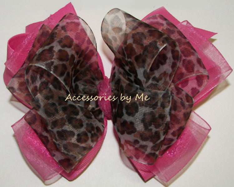 Fancy Leopard Hot Pink Organza Hair Bow - Accessories by Me