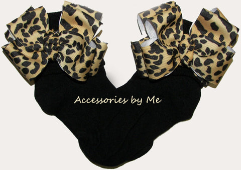 Frilly Leopard Bows Black Socks