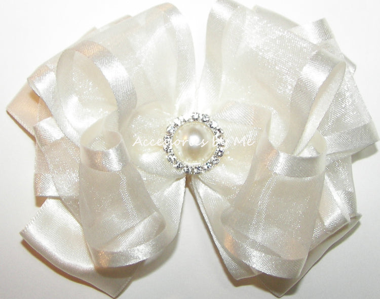 Light Ivory Organza Satin Hair Bow