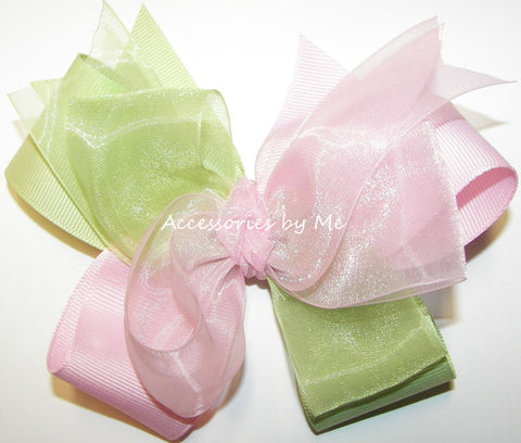 Light Pink Green Hair Bow