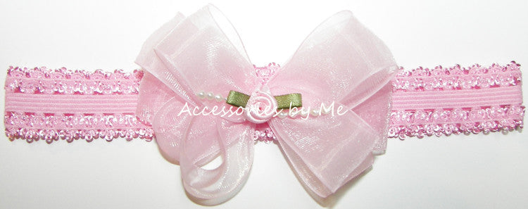 Light Pink Organza Pearl Bow Headband