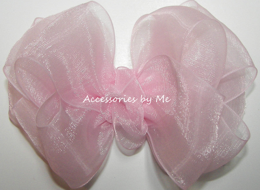 Fancy Light Pink Organza Hair Bow - Accessories by Me