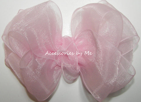 Fancy Light Pink Organza Hair Bow