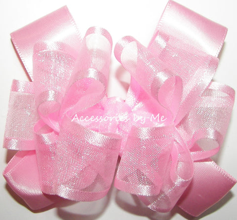 Light Pink Organza Satin Trim Hair Bow