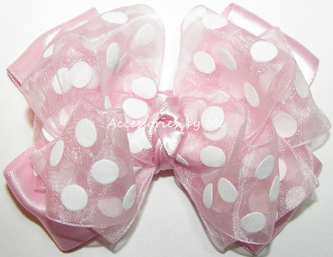 Pink Polka Dot Organza Satin Hair Bow