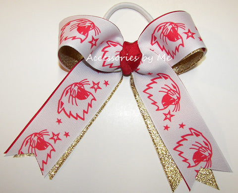 Lions Red Gold Ponytail Holder Bow