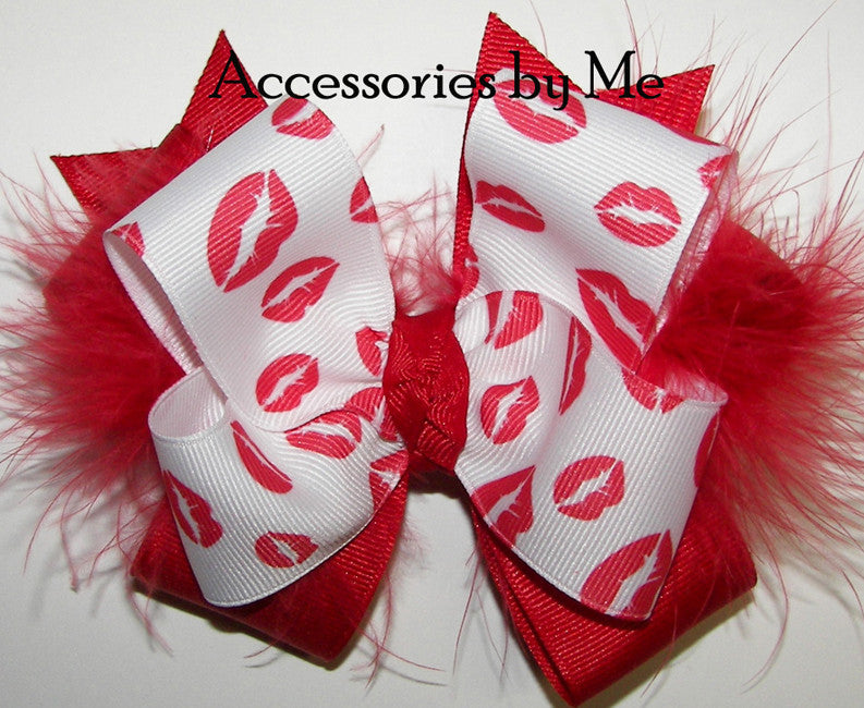 Valentine's Day Frilly Red Pouty Lips Marabou Hair Bow