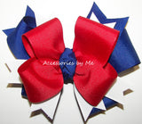 Red White Royal Ponytail Bow