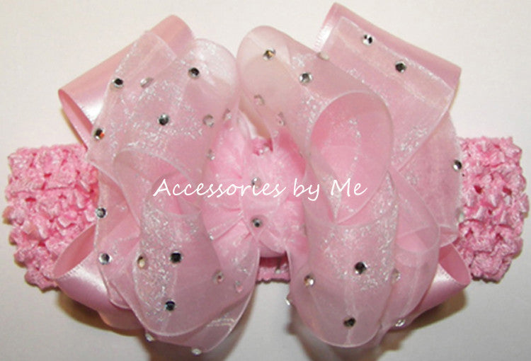 Pageant High Glitzy Light Pink Organza Satin Bow Headband - Accessories by Me