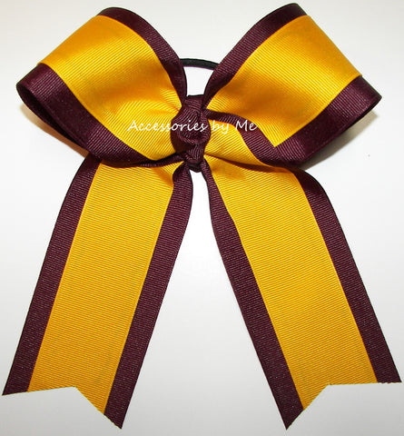 Wholesale Maroon Yellow Gold Ponytail Holder Cheer Bow