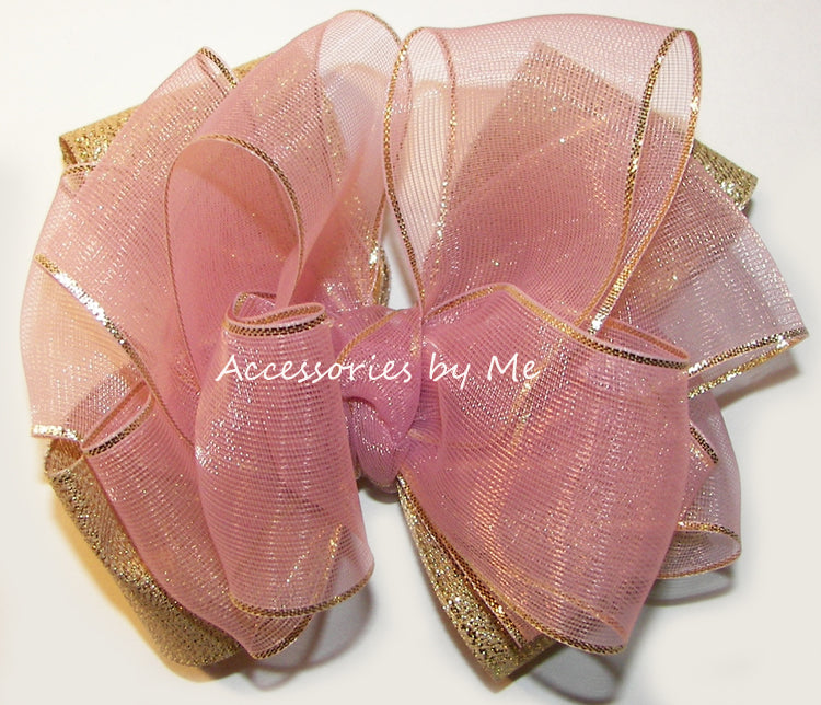Mauve Organza Gold Metallic Hair Bow