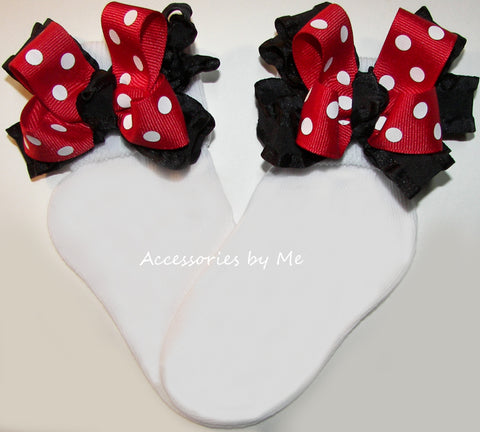 Red Polka Dot Ruffle Bow Socks