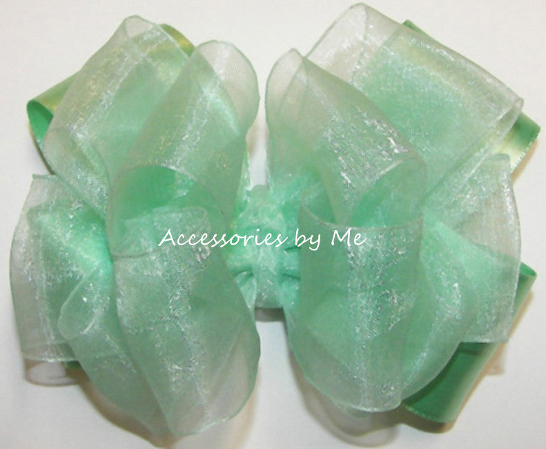 Fancy Mint Green Organza Satin Hair Bow - Accessories by Me