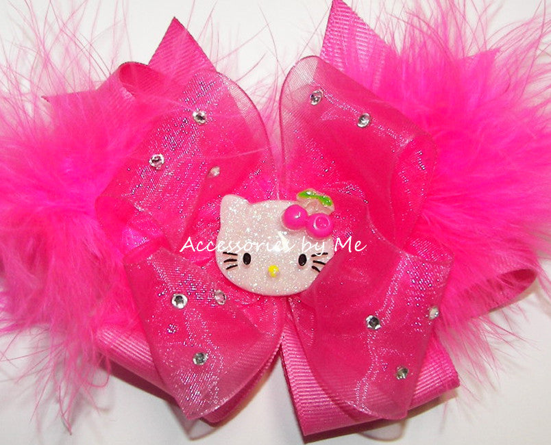 Glitzy Little Miss Kitty Marabou Feather Hair Bow - Accessories by Me
