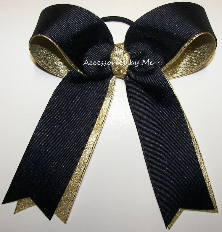Navy Blue Gold Ponytail Holder Bow