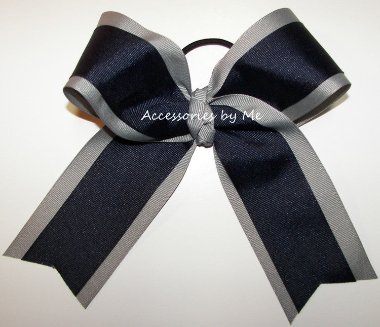 Navy Blue Silver Gray Ponytail Holder Bow